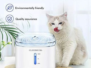 ClEEBOURG Cat Water Fountain  2l Automatic Dog Water Dispenser Electric Water Drinking Fountain with 3 Flow Settings   2 Replacement Filters   1 Silicone Mat for Cats Dogs Multiple Pets