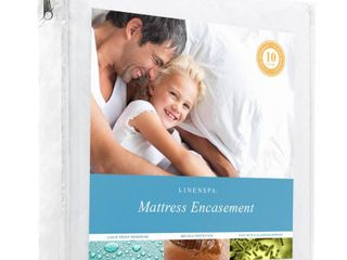 linenspa zippered encasement waterproof  dust mite proof  bed bug proof breathable mattress protector   queen size