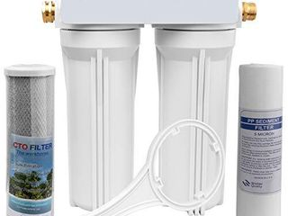 OKBA RV Water Filter System External RV Dual Water Filtration System for RVs Boats Marines Motorhome with Two Filters Improve Taste  Reduces Odor and Sediment