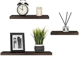 Mkono Floating Shelves Wood Wall Shelf Rustic Modern Shelf Set of 3 Photo Display ledges with Invisible Bracket for living Room Bedroom Bathroom 4  Deep  Dark Brown