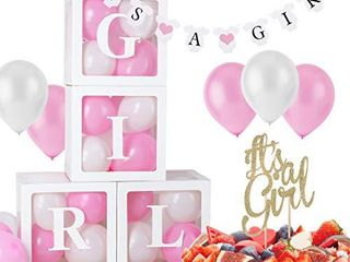 BabyShower Decorations Girl   It s a Girl Cake Topper   It s a Girl Banner   Baby Blocks for Baby Shower  Baby Boxes with letters for Baby Shower   Baby Shower Boxes Blocks Decorations letters