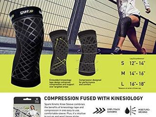 Spark Kinetic Knee Sleeve Compression Knee Sleeve with Embedded Kinesiology Tape Running  Weightlifting  Exercise  Sports   Muscle   Joint Pain   Size Medium