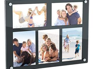 NIUBEE 5 Opening 4x6 Collage Picture Frame  Acrylic Wall Hanging and Desktop Photo Display with Mat  Black
