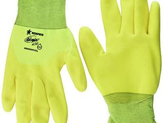 MCR Safety Ninja Ice N9690HVXl Hi Visibility 15 Gauge Nylon Insulated Cold Weather Gloves  Acrylic Terry Inner  3 4 HPT Coating  Yellow  X   large  1 Pair