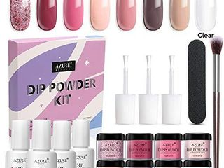AZUREBEAUTY Nude Pink 8 Colors Dipping Powder Nail Starter Kit Acrylic Dipping Powder System Essential Kit for French Nail Manicure Nail Art Set