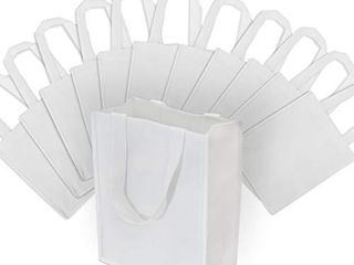 Small White Reusable Gift Bags  Shopping Bags with Handles  Grocery Bags  Fabric Tote Bags  Merchandise Bags  Foldable  Strong and Eco Friendly 12 Pcs  8x4x10