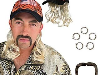 Tiger Joe Costume Set   King of Exotic Cats Cosplay   Blonde Mullet Wig with Hat  Clip Earrings  and Mustache   Fits Kids and Adults
