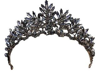 Beaupretty Gothic Baroque Crown Vintage Tiara luxury Headpiece for Wedding Party Black