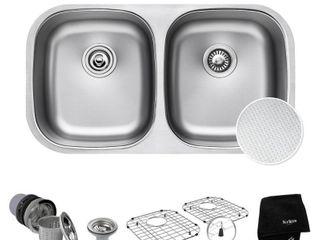 KRAUS Outlast MicroShielda Scratch Resist Stainless Steel Undermount 50 50 Double Bowl Sink  32  16 Gauge  Premier Series