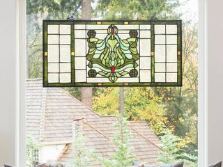 River of Goods Green Victorian Stained Glass Window Panel  Ivory Green