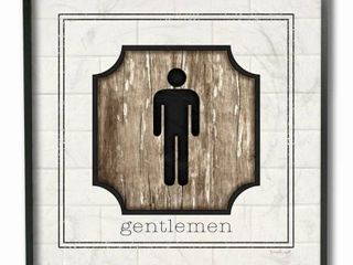 The Stupell Home Decor Simple White and Distressed Wood look Gentlemen Bathroom Sign  12 x 12