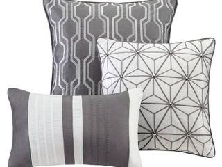 7 Piece luxury Comforter Set in Grey Geometric Floral Print  Queen
