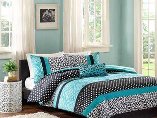 Christa 4 Piece Comforter Set   Teal  Full Queen