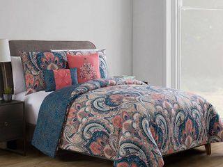 Coral   Gray Casa Real Comforter Set  Full Queen    VCNY