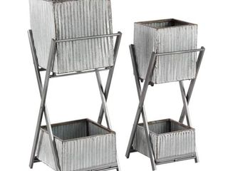 Set of 2 Modern 24 and 28 Inch Silver Square Double Deck Plant Stands