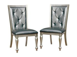 Furniture of America Tase Contemporary Silver Side Chairs  Set of 2