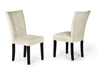 Copper Grove Zinnia Microsuede Dining Chairs  Set of 2    Ivory