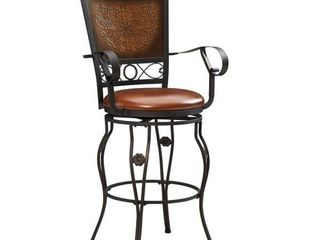 Powell Aberdeen Stamped Back Big and Tall Barstool with Arms