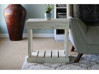 Slatted Reclaimed Wood End Table   White