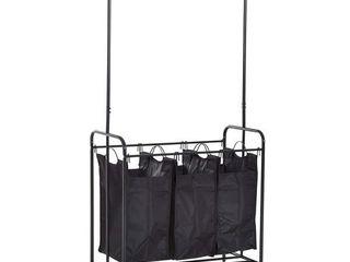 HomCom 3 Bag Heavy Duty Divided laundry Hamper Sorter Cart With Wheels And Hanging Bar   Black