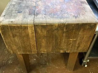 Antique Solid Maple Butcher Block Cutting Table