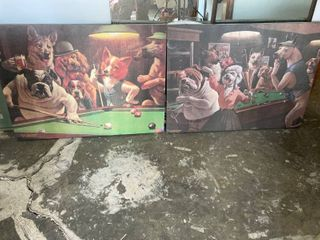 2 canvas prints 28 x 38 dogs playing pool