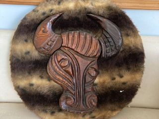 wood carved Buffalo Bull head