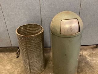 vintage metal trash can
