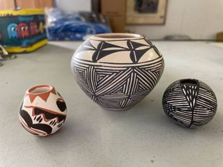Native American Pottery  Evening Star Acoma New Mexico  D  Valla Small Black White Pottery  Unknown Red And Black Pottery Small