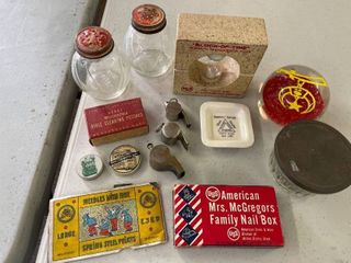 Misc lot  Paper Weight Masonic  Whistles lock  Shakers  Nail Box  amp  Needle Book