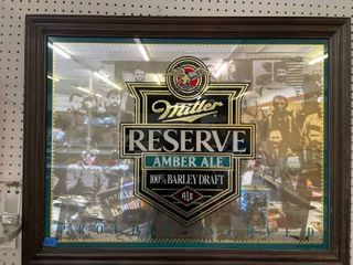 Miller Reserve Amber Ale Beer Mirror Advertisement 3ft X 28 1 2 Inches