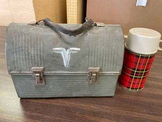 Metal lunch Box With Plaid Mercury lined Thermos
