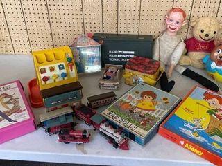 large Toy Misc lot  Ventriloquist Howdy Doody Doll  Dolls  Puzzles  Plastic Train  Barbie Case and Dolls  Unclothed  Gi Joe Case  Empty