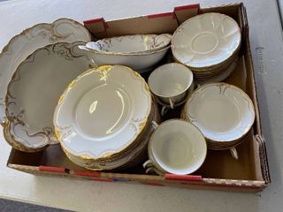 Gold Trim White Theodore Haviland limoges France Dishes  Platters Cups Plates Bowls KCMO Emery  Bird  Thayer Co