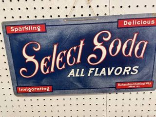 Select Soda Paper Advertisement Sign  Bakersfield Wisconsin Bottling Co