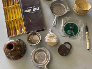 Misc lot  Wagner Ware Ashtray  Dog Fig  Powder Brush Doll  Glass Ashtray  Forbes Coffee Tin Sifter  Wolverine Tin Bowls  Westinghouse Pen  Fondue Forks