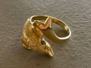 14k Gold Dolphin Ring 4 5 Grams  Size 8