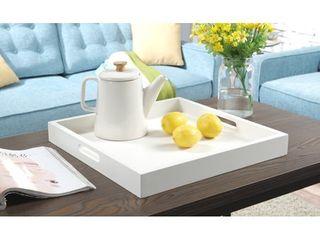 Convenience concepts palm beach decor serving tray  white