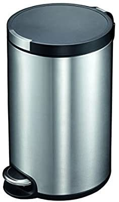 20 liters  5 28 gal Fingerprint Resistant Brushed Stainless Steel Finish  Round Step Waste Bin with Soft Close lid  Durable Cantilever Foot Pedal Mechanism   dent in front
