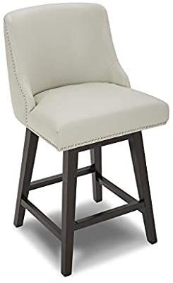 CHITA Counter Height Swivel Barstool  Upholstered leather Stool  26  H Seat Height  light Grey  1 each
