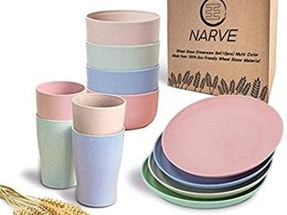 Wheat Straw Dinnerware Sets 12pcs  Multi Color Unbreakable Microwave Safe lightweight Bowls  Cups  Plates Set Reusable  Eco Friendly Dishwasher Safe Wheat Straw Plates Wheat Straw Bowls  Cereal Bowls  wheat color only
