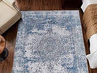 jinchan Blue Vintage Traditional Area Rug for Kitchen Floorcover Soft Floral Printed Indoor low Pile Mat for Bedroom living Room 4 x 6 7