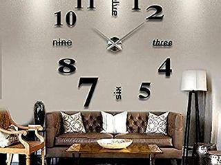 Beauenty Stylish large Diy Quartz 3d Wall Clock Acrylic Sticker Wall Clock   015 Black