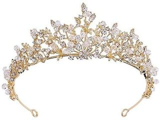 Gold Tiara for Women Bridal Wedding Crown with Crystal Flower for Christmas Party Bride Bridesmaid Girls Floral Rhinestone Hair Accessories for Wedding Prom Pageant