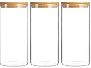 Glass Storage Jar Airtight Food Storage Canisters Set of 3 Glass Coffee Jar Kitchen Food Storage Container with Bamboo lid for Serving Tea  Coffee  Spice and More 900Ml transparent