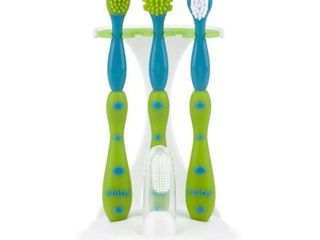 Nuby Blue   Green 4 Stage Oral Care Set with Stand