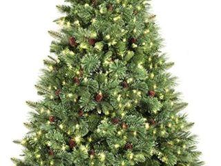 SHareconn 6 5ft Pre lit Premium Artificial Hinged Christmas Pine Tree