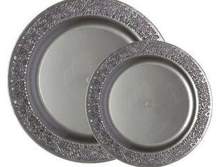 Party Joy lace Premium Heavyweight Disposable Plastic 50 Piece Plate Set