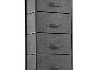 4 Drawer Dresser Organizer Tall Fabric Storage Tower for Bedroom  Hallway  Entryway  Closets  Nurseries  Furniture Storage Chest Sturdy Steel Frame  Wood Top  Easy Pull Handle Textured Print Drawers