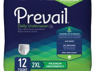 Prevail Daily Disposable Underwear  Unisex  Pull On  2Xl  12 Count